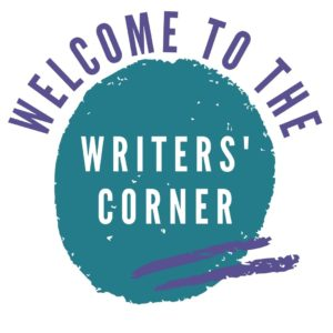 The words 'Welcome to the Writers' Corner' in a blue and purple design.